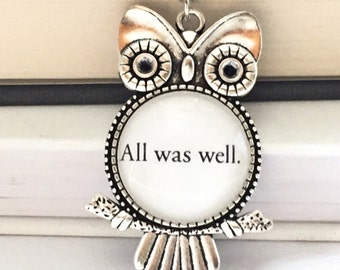 All was well, fandom book page owl necklace. Book Jewelry, Bookish Jewelry, Book Necklace,  Book nerd gift.