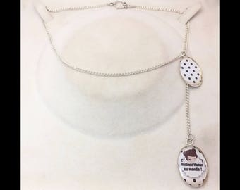 """Necklace is offset 2 cabochons """"best MOM in the world"""""""