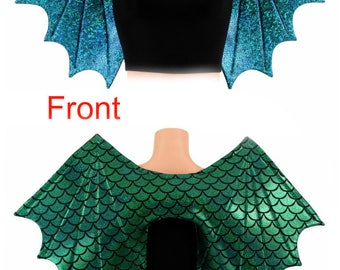 Turquoise Dragon Scale Wireless Dragon Wings Sparkly Holographic Shiny (Wings Only) - 154875 HIRqhrD