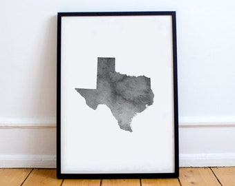 Texas Wall Art   Texas Watercolor, Texas Printable, Texas Map, State Map  Outline