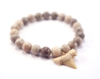 Fossilized Shark Tooth Bracelet, Fossil Coral Bracelet, Natural Stone Bracelet, Stretch Bracelet, Brown White Gray Beaded Stacking Bracelet