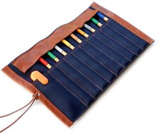 Canvas & leather-pencil role case, blue