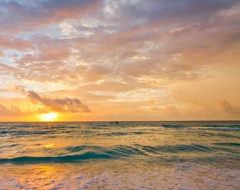 Vertical photograph of a Caribbean beach sunset. Printed on canvas.