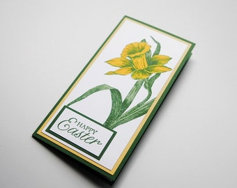 Happy Easter Daffodil Greeting Card, Thinking of You at Easter Hand Made Card for Spring, Blessings Note Card