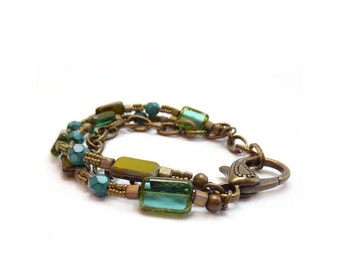 Multistrand Boho Bracelet - Picasso Rectangle Glass - Seed Beads - Mixed Metals Chain Bracelet