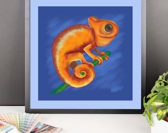 "Cute Animal Illustration ""Orange Chameleon"" by Malinee Ganahl. Fine Art Lustre Print.  Whimsical drawing on blue."