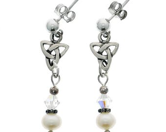 Sterling silver Irish Trinity Knot post dangle earrings with pearls and Swarovski Crystal beads