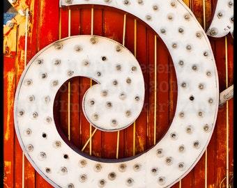 Abstract Light Bulbs, Orange Art, Swirling Art, Neon Sign Wall Art, Orange Photography, Las Vegas, White Orange, Detail No.23 Print