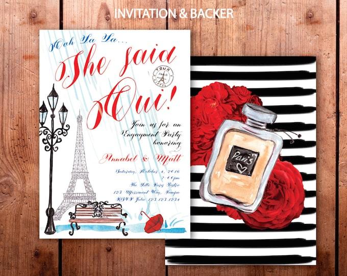 Paris Engagement Party Invitation // She said Oui // Eiffel Tower // Engagement // Red // Blue // Rain // Bridal Shower // ILE DE FRANCE