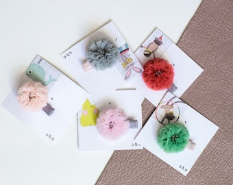 Tulle  and leather clip set