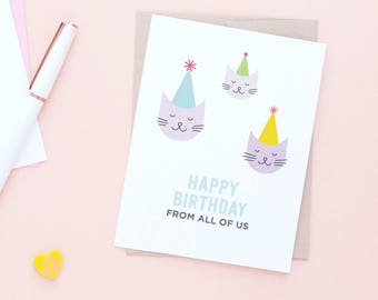 Group birthday card etsy group birthday card all of us kittens greeting card celebrating birthday cats bookmarktalkfo Gallery