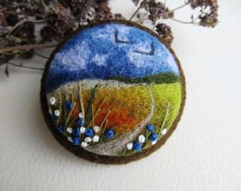 Nadel gefilzte Brosche Felted Landschaften Felted Schmuck Filz Broschen natürliche Schmuck Art Miniaturen