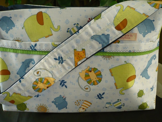 Baby Blue Zoo Animals Purse Diaper Bag