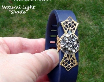 Fit Bit Slide, Jewelry - Swarovski Crystal AB Rocks, Brass Filigree Cross, Wrapped  - Hand Crafted Artisan Jewelry