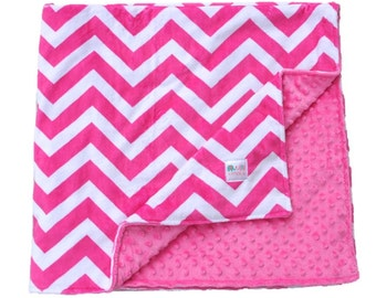 Hot Pink Chevron Double Minky Baby Blanket, Baby Gift, Toddler Bedding, Crib Bedding Throw Blanket, Stroller Blanket, Travel Blanket