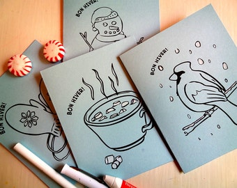 Bon Hiver Winter Cards to Print and Color