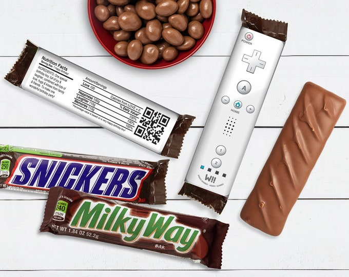 Video Gamer Candy Bar Label/Wrapper - Video Game Party Favor, Nintendo, wii party, white | D.I.Y. Editable Text INSTANT DOWNLOAD Printable