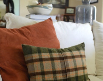Dark Earth Toned Fringe Plaid Pillow