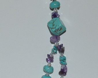 Turquoise and Amethyst Necklace, Gift For Her, Jewelry Box, Trendy, Chic, Boho, One of a Kind