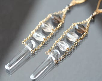 quartz crystal earrings, long shaded ombre earrings, smoky quartz crystal gemstone earrings, natural quartz point jewelry, bohemian earrings
