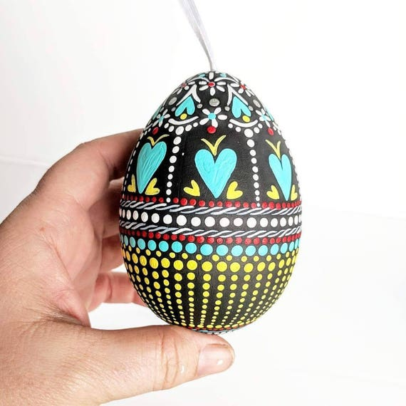 Large egg shaped shatterproof Ornament hand painted egg bauble