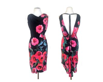 Pink Roses Argentine tango dress with low back. Pin up wiggle dress for milonga. Wedding guest dress with open back.