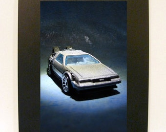 """Framed Matchbox Car Toy Photograph 4x6"""" Back to the Future DeLorean Time Machine"""