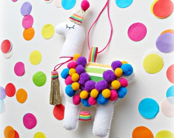 Rainbow Party Birthday Llama Alpaca Hanging Ornament Decoration Theme Decor Fiesta Personalised