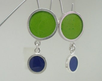 Bubbles and Dots 2 Dot Earrings - Sterling Silver, Resin