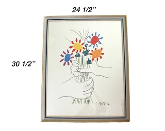 """LARGE vintage framed Picasso lithograph - """"Bouquet of Peace"""" """"Hands with Flowers"""" """"Hands with Bouquet"""" (1958) - Pablo Picasso, cubism, litho"""