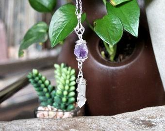 Raw Stone Jewelry - Amethyst & Quartz Necklace - Natural Crystal Quartz Jewelry - Amethyst Necklace - Gypsy Boho Jewelry - Bohemian Necklace
