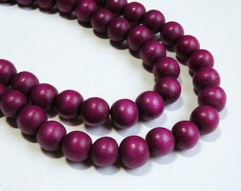 Plum Purple wood beads round 12mm full strand eco-friendly Cheesewood 9480NB