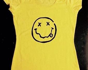 SALE- Nirvana T shirt - 90's - hand printed - Scoop neck band shirt