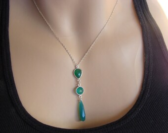 Green Onyx and Green Chalcedony Sterling Silver Necklace