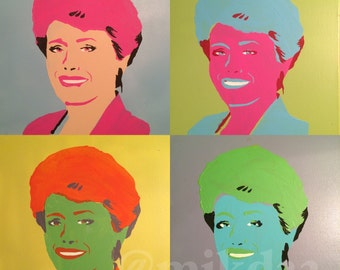 Pop art Rue McClanahan Golden Girls painting set of 4