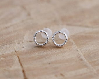 Tiny Circle Studs | Open Circle Studs | Geometric Sterling Silver 925 Studs | Hoop Studs | Silver 925 Earrings | Circle Stud Earrings
