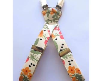 "Adjustable 1"" Suspenders- Folk Floral"