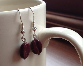 Czech Glass Coffee Bean Earrings