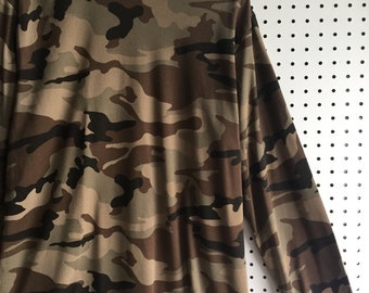 Camouflage Mock Neck Long Sleeves Jumper