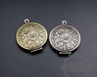 5pcs 27mm vintage style antiqued silver,bronze brass flower photo locket pendant charm DIY supplies 1111068