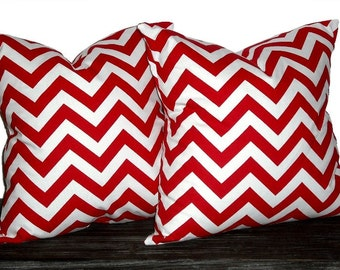 20 Inch Chevron Zig Zag Pillow Set - Set of 20 x 20 Inch Chevron Pillow Covers - Lipstick Red and White - TWO PILLOW COVERS