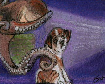 original art  aceo drawing octopus bulldog television gamer