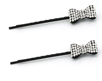 Hand Made Hair Jewelry Pair of Bobby Pins with Little Bow, White Rhinestone(SO6093-cl)