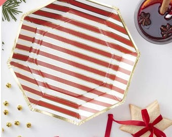 Gold Foiled Candy Cane Stripe Paper Plates,party plates,wedding party plates,birthday party plates