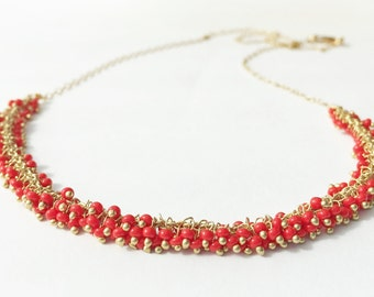 Gold Necklace with Tiny Red Seed Beads / delicate, red, gold, glass, summer, vacation, resort, bridesmaid, bohemien