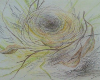 The Nest- colored pencil drawing, J Goeller
