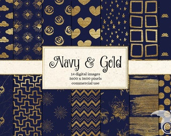 Navy Blue and Gold Digital paper, gold paint backgrounds scrapbook paper, gold scrapbook instant download commercial use