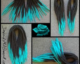 Wool Dredlocks -BlackTurquoise- double ended