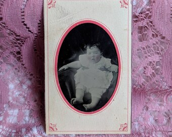 Paper framed Hidden mother tintype photo adorable baby with bare feet rosey pink cheeks ghostly