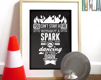Dancing in the Dark Bruce Springsteen Music poster typography Art Print illustration in charcoal poster size music Poster Bruce Springsteen